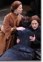 Photo of (L to R) Jessica Dickey as Katharine Diane Anderson, Jacqueline Antaramian (face hidden) as Marsha Anne Anderson and Annette Helde as Alma Marie Anderson