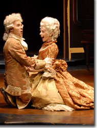 Douglas Harmsen as Wolfgang Amadeus Mozart and Stephanie Cozart as Constanze Weber