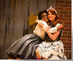 (Left to right) Shunté Lofton as Celia and Emily Van Fleet as Rosalind