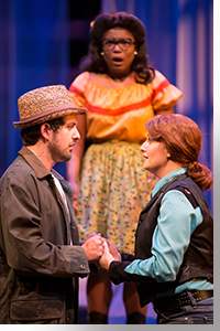 (Left to right) Seth Dhonau as Orlando, Shunte Lofton as Celia, and Emily Van Fleet as Rosalind