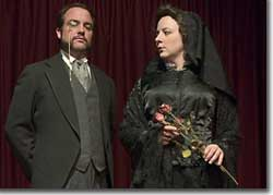 Photo of Brian Colonna as Dr. John A. Irwin and Erin Rollman as Mrs. Eleanor Fletcher Bishop