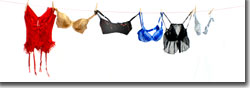 Some of the many brassieres featured in the show
