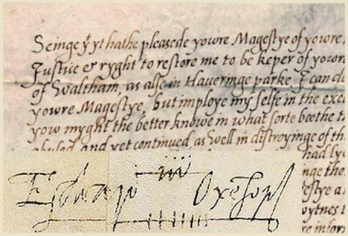 The handwriting and signature of Edward de Vere, earl of Oxenford