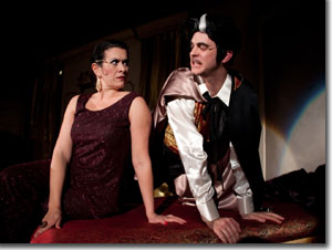 Alicia Dunfee as The Drowsy Chaperone and Seth Caikowski as Aldolpho