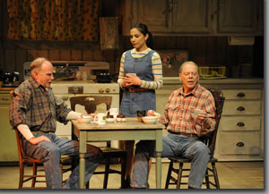 (Left to right) Mike Hartman as Raymond McPheron, Tonantzin Carmelo as Victoria Roubideaux, and Philip Pleasants as Harold McPheron