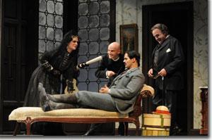 Left to right: Claire Shackleton (Marcellina), Joseph Gaines (Don Basilio), Edward Parks (Count), Thomas Hammons (Don Bartolo)
