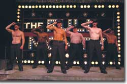 Photo of (L to R) Scott McLean as Ethan, Milton Craig Nealy as Horse, Jim Newman as Jerry, Eric Leviton as Dave, Alan Swadener as Malcolm and Brian Kelly as Harold.