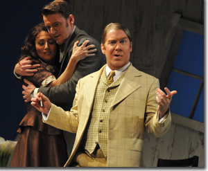 (Left to right) Joanna Mongiardo as Lauretta, Norman Reinhardt as Rinuccio, and Daniel Belcher as Gianni Schicchi