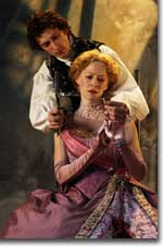 Photo of Tony Marble as Hamlet and Hollis McCarthy as Gertrude