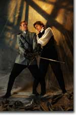 Photo of Geoffrey Kent as Laertes and Tony Marble as Hamlet