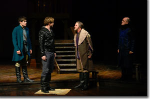 (Left to right) Alex Esola as Edmund Mortimer, Geoffrey Kent as Hotspur, Peter Simon Hilton as Owen Glendower, and Steven Cole Hughes as Thomas Percy
