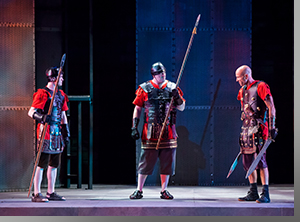 (Left to right) Evan Ector as Young Cato, Tony Ryan as Lucilius, and Scott Coopwood as Brutus