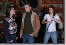 Photo of (L-R) Jillann Tafel (Carol Ann), Stephen Pearce (Gus) and Missy Moore (Gina)