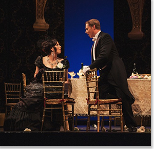 Ellie Dehn as Violetta Valéry and Ryan MacPherson as Alfredo Germont