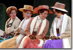 (Left to right) Elgin Kelley as Rosaline, Jennifer Le Blanc as Countess of France, Jamie Ann Romero as Katherine, and Laura Kruegel as Maria