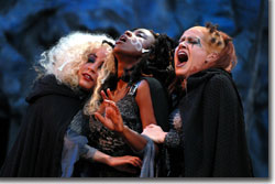 (Left to right) Jamie Ann Romero as First Witch, Alexandra C. Lewis as Third Witch, and Karyn Casl as Second Witch