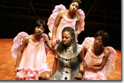 Philisa Sibeko (center) as Princess Pamina, with (left to right) Busisiwe Ngejane, Poseletso Sejosingoe, Noluthando Boqwana as the three Spirits