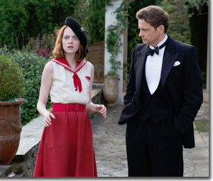 Emma Stone as Sophie and Colin Firth as Stanley