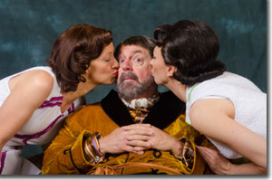 (Left to right) Mare Trevethan as Mistress Page, Michael Winters as Falstaff and Vanessa Morosco as Mistress Ford