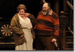 Kathleen M. Brady as Mistress Quickly and Brian Keith Russell as Sir John Falstaff