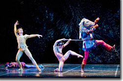 (Left to right) Igor Vassine as Oberon, Koichi Kubo as Puck, and Gregory K. Gonzales as Bottom
