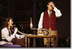 Lisa O'Hare as Eliza Doolittle and Christopher Cazenove as Henry Higgins.