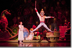 Dana Benton as Clara and Viacheslav Buchkovskiy as the Nutcracker Prince