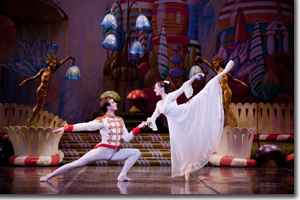 Viacheslav Buchkovskiy as the Nutcracker Prince and Dana Benteon as Clara