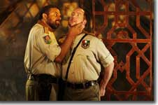 Photo of John Cothran as Othello and Matthew Penn as Iago