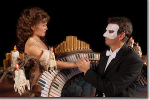 Tracy Venner-Warren as Christine Daee and Randy St. Pierre as Erik, The Phantom