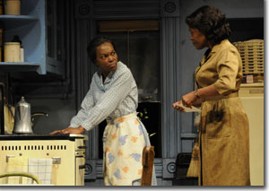 (Left to right) Marlene Warfield as Lena Younger and Kim Staunton as Ruth Younger