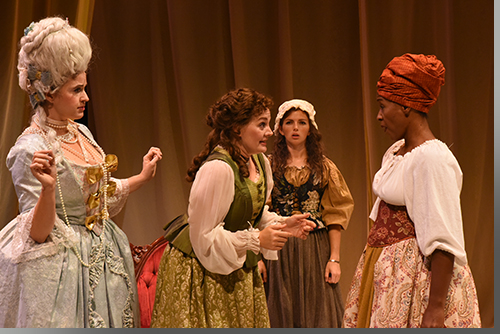 (Left to right) Adrian Egolf as Marie Antoinette, Rebecca Remaly as Olympe De Gouges, Maire Higgins as Charlotte Corday, and Jada Suzanne Dixon as Marianne Angelle