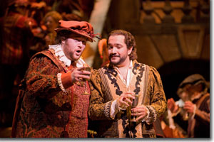 (Left to right) Brett Sprague as Borsa and Rene Barbera as the Duke