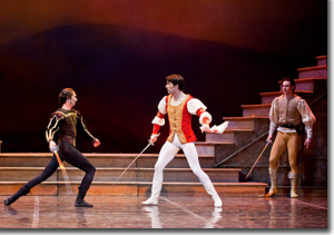 (Left to right) Dmitry Trubchanov as Tybalt, Alexei Tyukov as Romeo, and Viacheslav Buchkovskiy as Benvolio