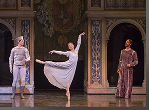 (Left to right) Christopher Moulton as Paris, Sharon Wehner as Juliet, and Gregory Gonzales as Lord Capulet