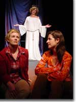 Photo of Carolyn Valentine (Cate), Gina Wencel (Our Lady), and Emily Paton Davies (Cate)