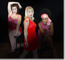 Alicia Dunfee as Nicki, Joanie Brousseau-Beyette as Charity, and Lea L. Chapman as Helene