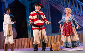 Rakeem Lawrence as Fabian, Robert Sicular as Sir Toby Belch, and Emma Messenger as Maria
