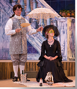 Gareth Saxe as Malvolio and Jessica Robblee as Olivia
