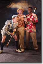 Photo of (L to R) Matthew Erickson as Sir Andrew Aguecheek, Dennis R. Elkins as Sir Toby Belch, and Damian Thompson as Fabian