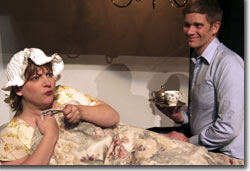 Erik Edborg as William Lunelia humors the pretentious delusions of Erin Rollman as Lady Fergus