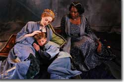 Photo of (Back to Front, L to R) Aimee Phelan-Deconinck as Hermione; Kyle K. Lewis as Mamillius; Bridgit Antoinette Evans as Paulina
