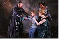 Photo of (Back to Front, L to R) Stephen Weitz as Leontes; Kyle K. Lewis as Mamillius; Bridgit Antoinette Evans as Paulina; Aimee Phelan-Deconinck as Hermione